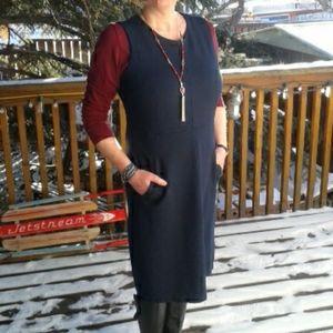 Lands End navy ponte sheath dress